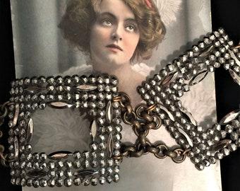 Antique Georgian, Victorian French Cut Steel OOAK Assemblage Double Buckle Bracelet, Revamped Components C. 1850-1910