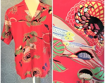 Vibrant Red 1940s, 1950s Silky Cold Rayon Made in Hawaii, Hawaiian Shirt, Fish, Crabs, Flora & Fauna, S - M, Excellent