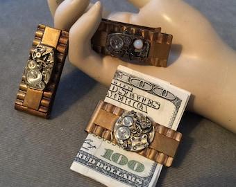 THREE (3), Wholesale Lot, Vintage Steampunk Watch Part Money Clips, Vintage Money Clip, Lot # MCB