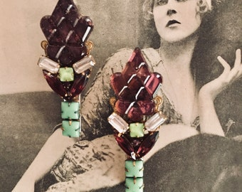"""Deco OOAK Vintage 1920s, 1930s Pair of Dress Clips, Hair Clips, Hat Clips, Vauxhall Glass, Purple, Green, Alligator Clips, 2.5"""" x1"""""""
