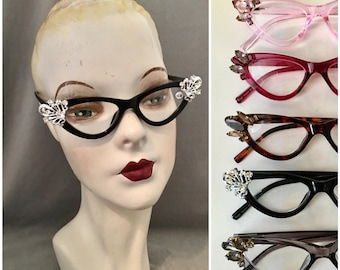 2.50 Strength, 1950s Styled Jeweled Cat Eye Readers, Hand Embellished, Vintage Glass Stones, c. 1940s-50s, 5 Colors