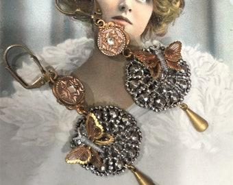 Antique Georgian, Victorian French Cut Steel OOAK Assemblage Earrings, Revamped Components C. 1850-1910, Antique Buttons, Monet Butterflies
