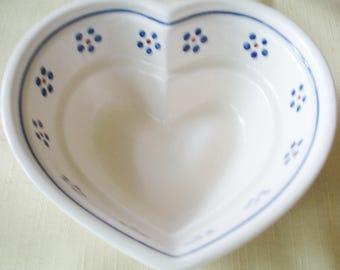 Pottery Serving Bowl Polish Pottery Jello Heart Bowl Blue, Wh, Rust