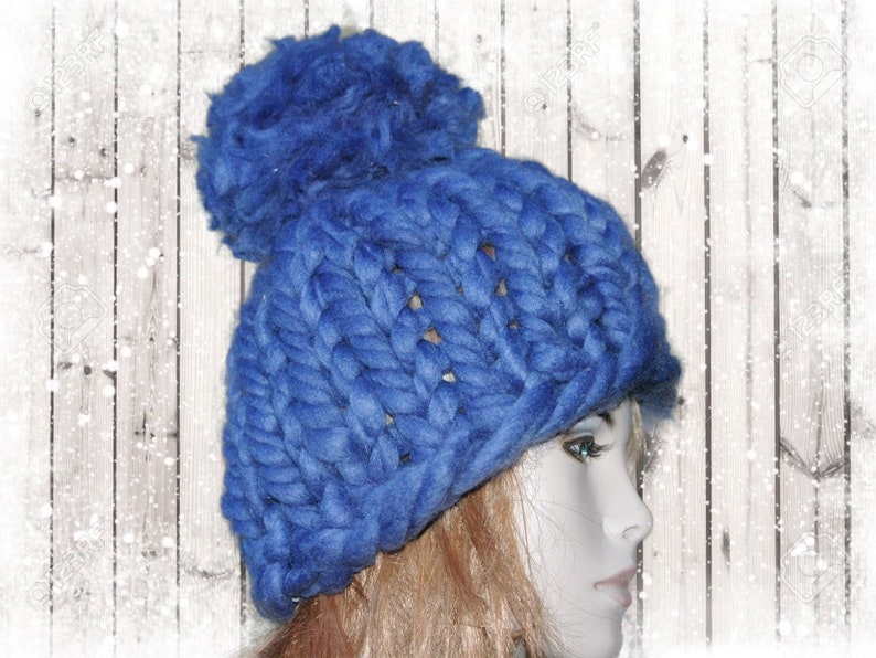 Super Bulky Women Beanie Chunky Knits Adult Super Chunky Pom Pom Hat Knitting Pattern Chunky Knit Hat Pattern Men