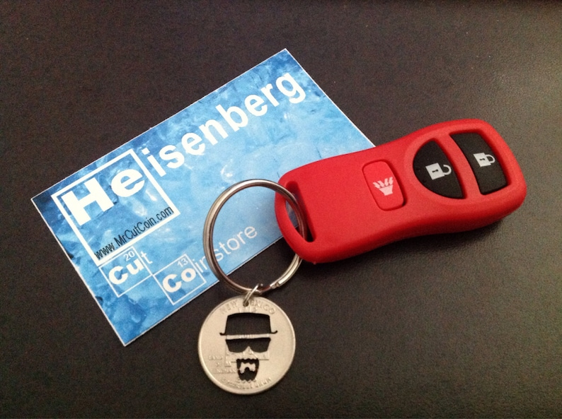 Heisenberg Cut Coin Breaking Bad Key Ring ABQ New Mexico image 0