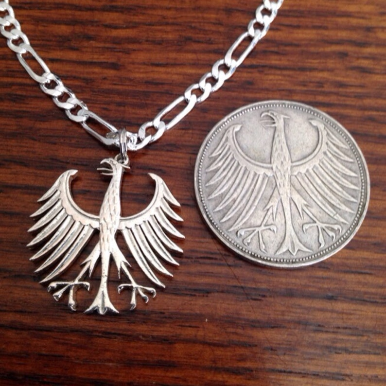 German Five Mark Cut Out Coin Jewelry Necklace Germany Silver image 0