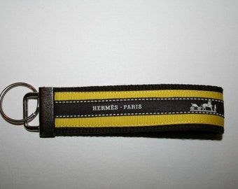 Wristlet Keychain Key Fob with Vintage Hermes Ribbon and Yellow Grosgrain