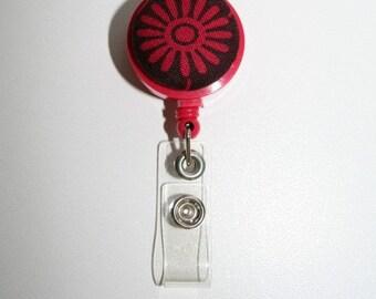 Red  Starburst  Retractable Badge Id Holder