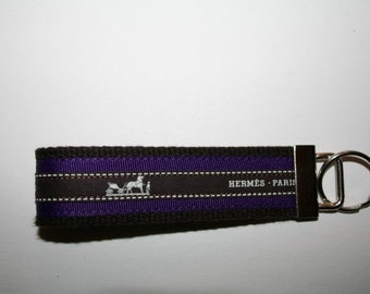Wristlet Keychain Key Fob with Vintage Hermes Ribbon and Deep Purple Grosgrain