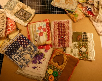 Slowtitched panel for Journal Covers or Tags