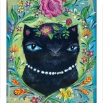 Black Kitty Cat Print with Flower Wreath - Pop Folksie Print - by Heather Renaux-unframed