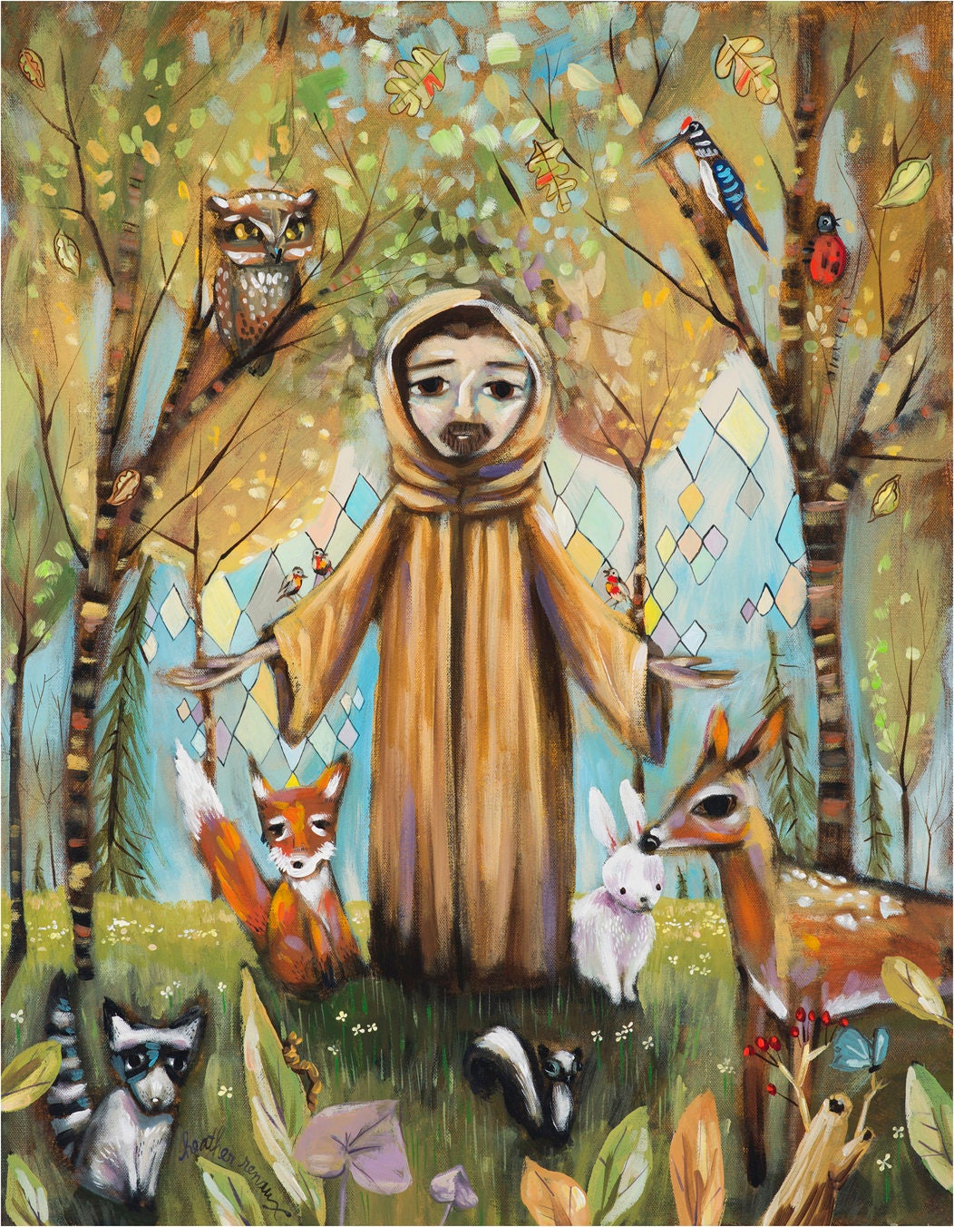 Saint Francis Assisi In Forest With Animals Fox Bunny Etsy