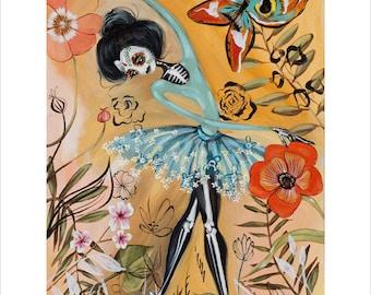 Ballerina, Day of the Dead, Sugar Skull, Dia de los Muertos, Ballet, Flowers - Pop Surrealism Fine Art Print - by Heather Renaux-unframed