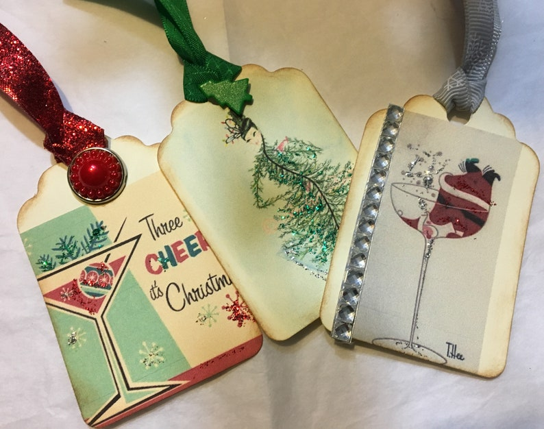 Vintage fun holiday cocktail images printed into gift tags