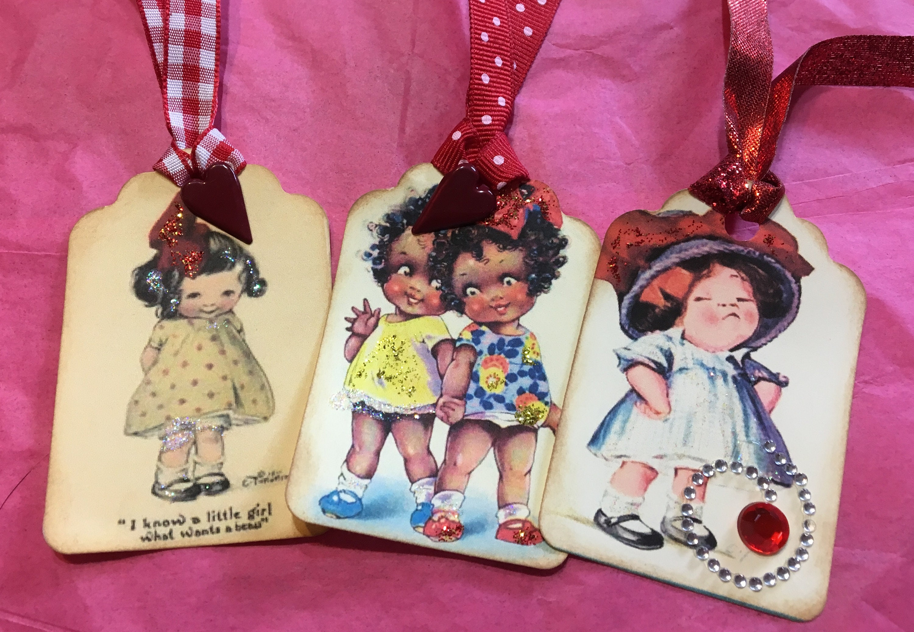 Vintage Card Images Of Cute Little Girls With Big Red Bows Etsy
