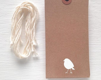 kraft gift tags with white foil bird