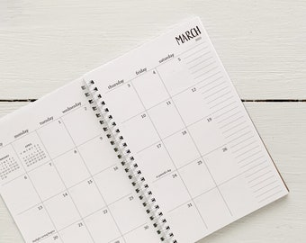 2022 small monthly spiral planner