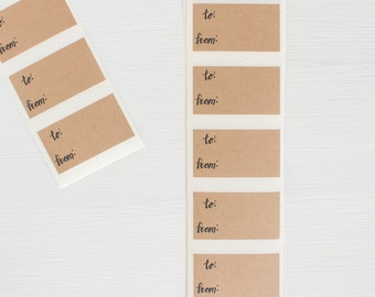 kraft labels - to from