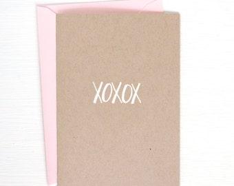 XOXOX kraft folded notecards