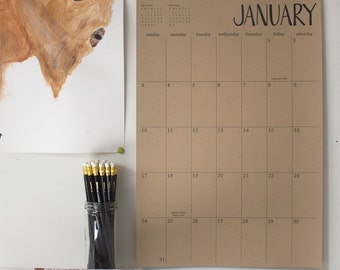 large kraft wall calendar - 13 months