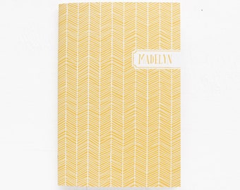 personalized notebook | dot grid, lined or blank | herringbone pattern