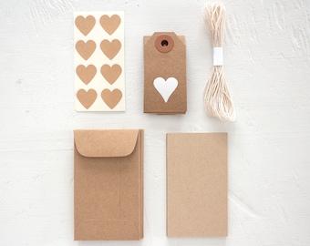 gift wrap extras kit - kraft hearts
