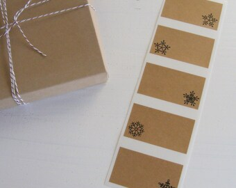snowflake kraft labels