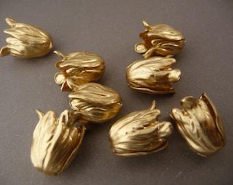 5pcs Vintage Antique Bronze 4-Petal Brass Flower Bead Caps Lead Free 17x22mm