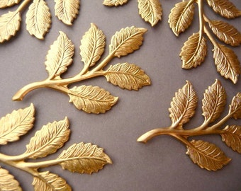 4 Brass Rose Leaf Branch Findings