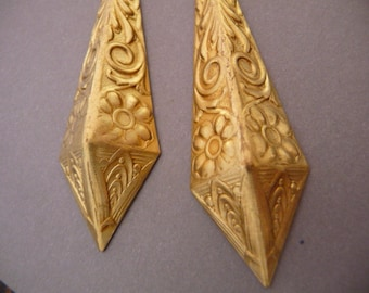 2 Brass Ornate Victorian Stamping Ornaments