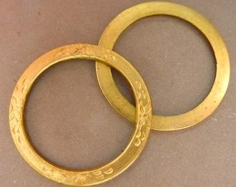 3 Round Brass Ornate Flower Loops - Frames - Settings - Die Struck