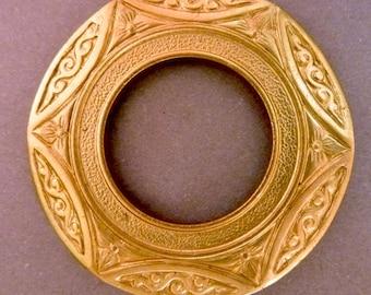 2 Medium Round Brass Ornate Flower Loops - Frames - Settings - Die Struck