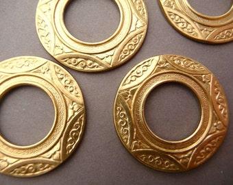 2 Round Brass Ornate Flower Loops - Frames - Settings - Die Struck