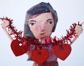 A Garland of Hearts - papier mache sculpture