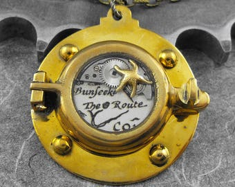 Steampunk Porthole Nautical Brass Necklace - The Porthole of Discovery by COGnitive Creations