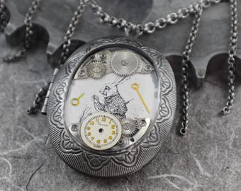 Alice in Wonderland White Rabbit Locket Steampunk Necklace - Memories of Wonderland by COGnitive Creations