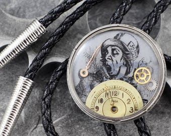 Alice in Wonderland Steampunk Mad Hatter Bolo - On Mad Hatter Time by COGnitive Creations