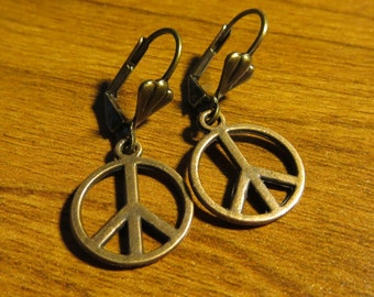 Vintage Copper Peace Earrings