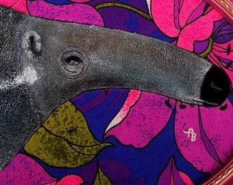 Original ant eater fabric applique painting