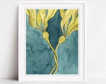 Seaweed Art Print - Watercolor Print, Bull Kelp Art Print,  Blue Green, Nature Wall Art Print, 8x10 11x14 Print