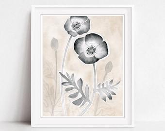 Poppy Flower Art Print, Neutral Botanical Print, Beige Gray Decor, Fine Art Watercolor Print, 8x10 11x14 Print - Monochrome Poppies
