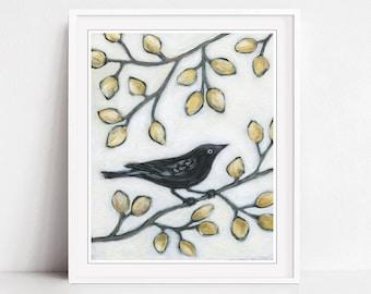 Black Bird Wall Art Print, Fine Art Print, Bird Painting, Nature Wall Art, Mustard Yellow, Autumn Leaves Wall Art - Black Bird