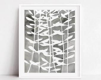 Leaf Pattern Print, Botanical Print, Charcoal Gray Nature Wall Art, Fine Art Print, Watercolor Print, 8x10 11x14 Print - Plant Pattern Two