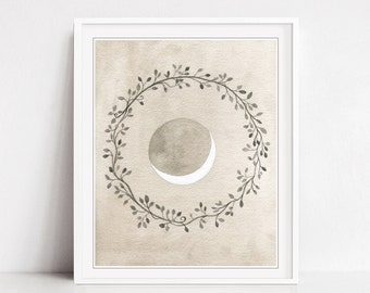 Crescent Moon Print, Fine Art Watercolor Print, Wreath Art Print, Beige Gray, Nature Print, Boho Decor, 8x10 16x20 - Crescent and Wreath