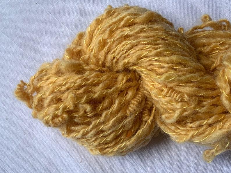 Handspun Art Yarn With Knots Kid Mohair Merino Yellow Saori 20-7-10