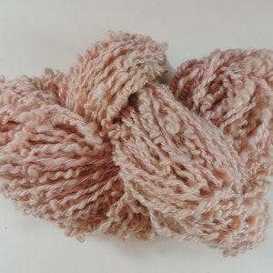 Hand Spun Novelty Art Yarn Coils Saori Weaving Merino Dark Pink 18-4-1