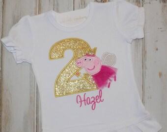 Peppa Pig Birthday Shirt Fairy Ruffle Puff Sleeve Outfit Sew Cute Creations