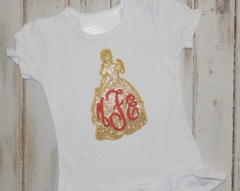 Belle shirt, Princess Shirt, Belle Monogram shirt, Belle outfit, ruffle, Belle silhouette shirt, Belle Birthday shirt, sew cute creations