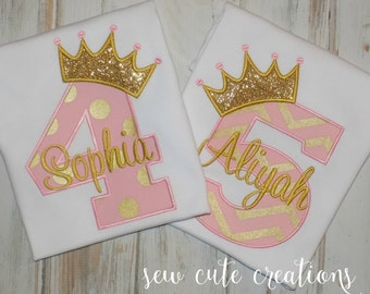 Princess Birthday shirt, Princess shirt, Crown Birthday shirt, Pink Gold Shirt, Girl Birthday shirt, Princess outfit, sew cute creations