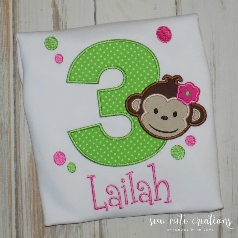 Mod Monkey Birthday Shirt For Girls Monkey Birthday Outfit Etsy